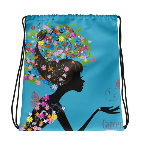 Cancer Floral Blue Drawstring bag
