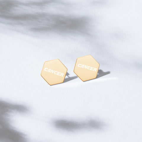 Cancer Sterling Silver Stud Earrings