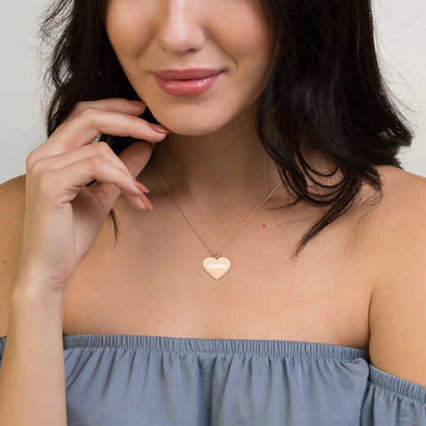 Virgo Engraved Silver Heart Necklace