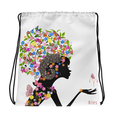 Aries Floral Drawstring Bag