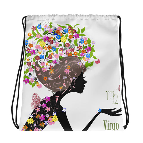 Virgo Floral Drawstring Bag