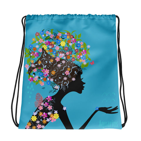 Aquarius Floral Blue Drawstring bag