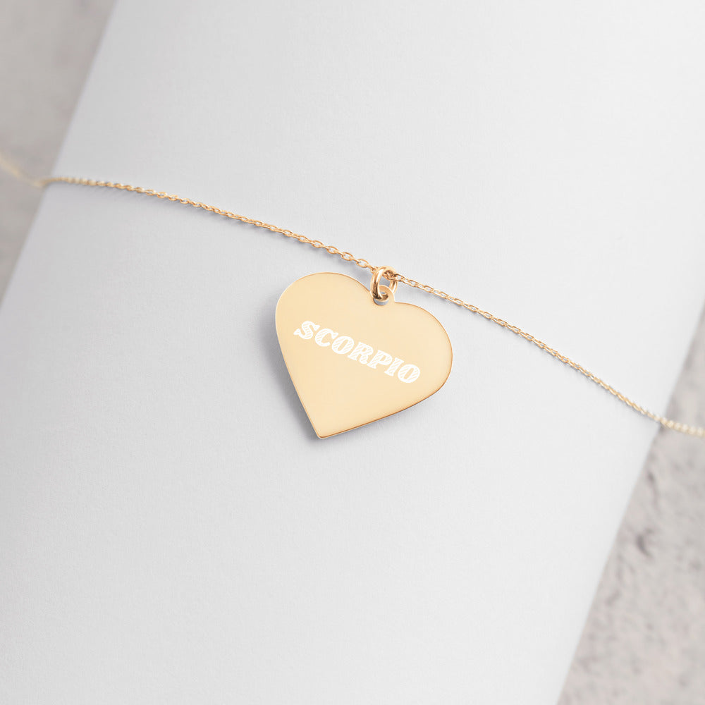Scorpio Engraved Silver Heart Necklace