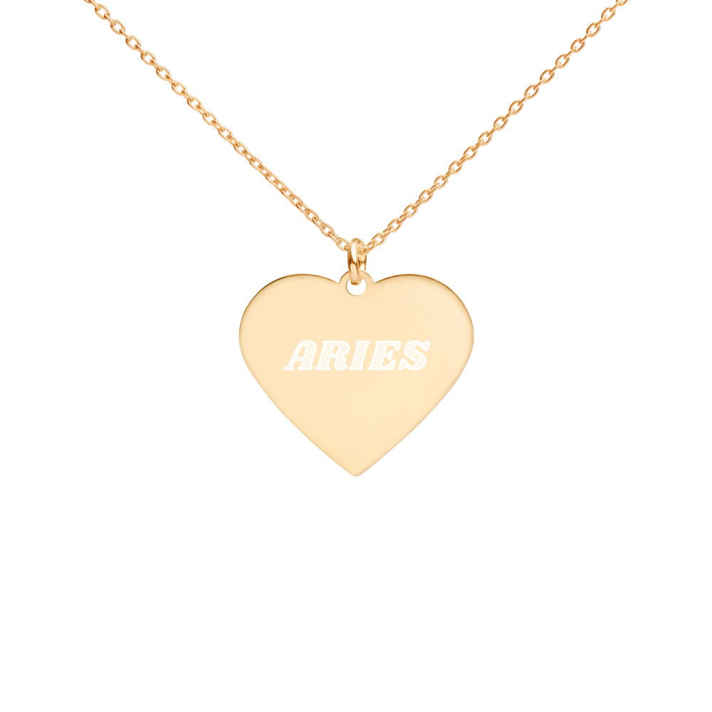 Aries Engraved Silver Heart Necklace