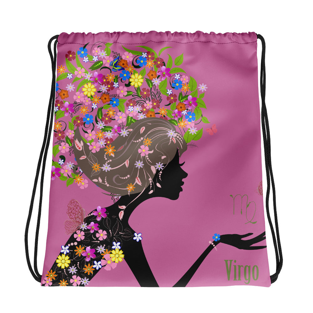 Virgo Floral Pink Drawstring bag