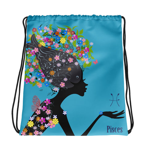 Pisces Floral Blue Drawstring bag