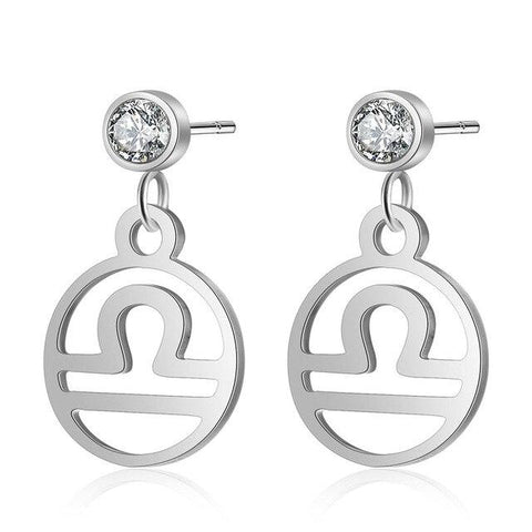 Libra stud hoop earrings