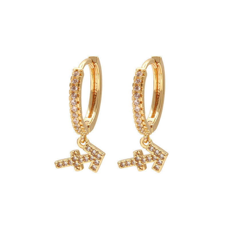 Sagittarius pave mini hoop earrings