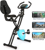 Ancheer 2 in1 Folding Exercise Bike with 10-Level Adjustable Magnetic Resistance and Arm Training Bands
