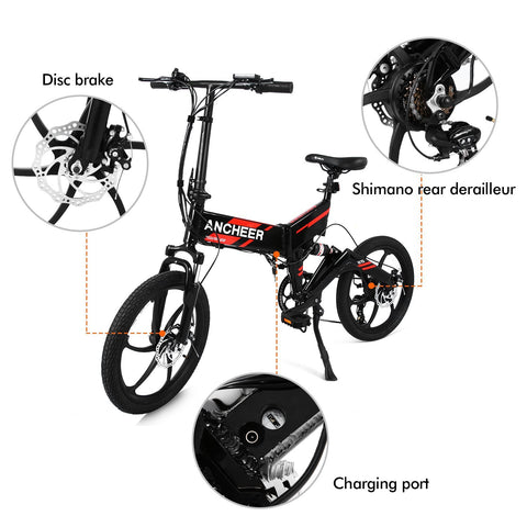Ancheer 20'' Newest Folding Electric Bike with Removable 36V 8Ah LG Battery