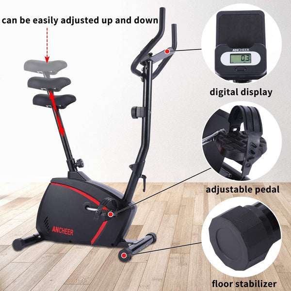 ANCHEER Magnetic Upright Exercise Bike with 10-level Resistance with Adjustable Seat, Monitor, Wheels