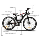 ANCHEER 26 Inch Wheel Electric Mountain Bike 250W with Removable 36V Battery