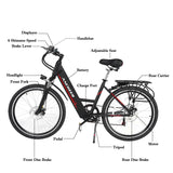 ANCHEER Electric Bike, 26 Inch Electric Commuter Bicycle with 36V 10 Ah Lithium Battery