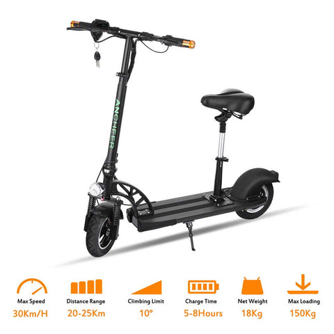 Ancheer E200 Foldable Electric Scooter with Suspension Seat