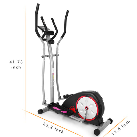 Magnetic Control Mute Elliptical Trainer with LCD Monitor Home Office Fitness Workout Machine