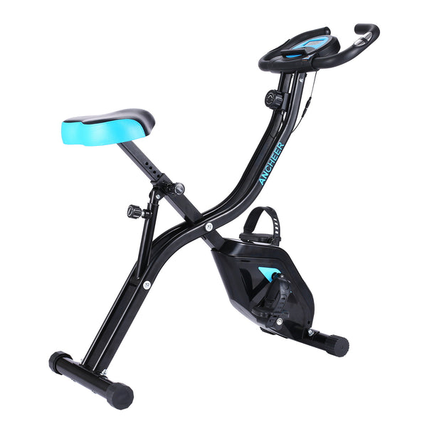 ANCHEER APP Control Folding Exercise Bike with 10-Level Adjustable Magnetic Resistance