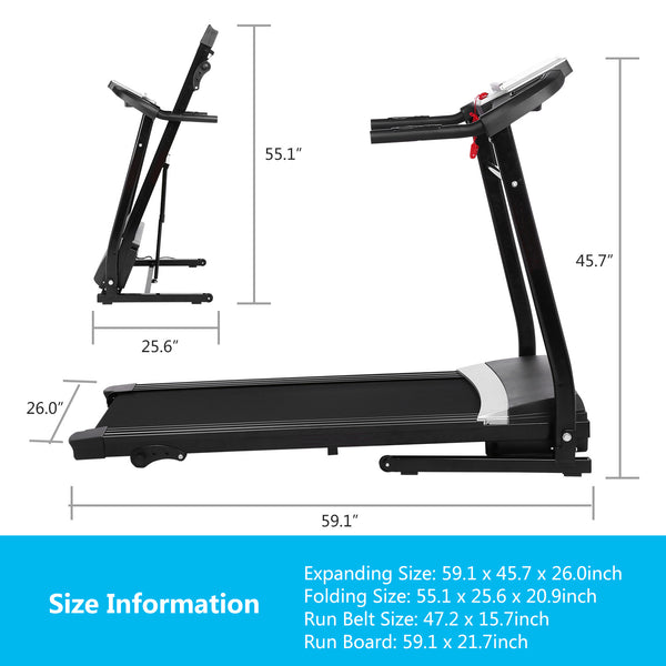 ANCHEER 2.25HP Folding Treadmill with Safety key, APP Control
