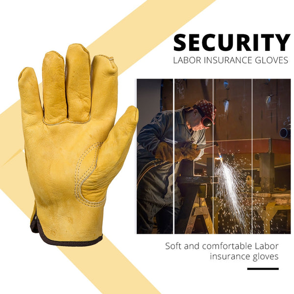 OZERO New Men's Work Gloves Cowhide Driver Security Protection Wear Safety Workers Welding Moto Gloves For Men 0007