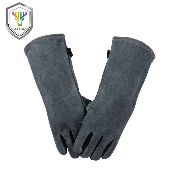 OZERO Work Cowhide Gloves Leather Best of Barbecue Grill Hearth Leather For Oven Kitchen Working Cotton With Long Sleeve 2413