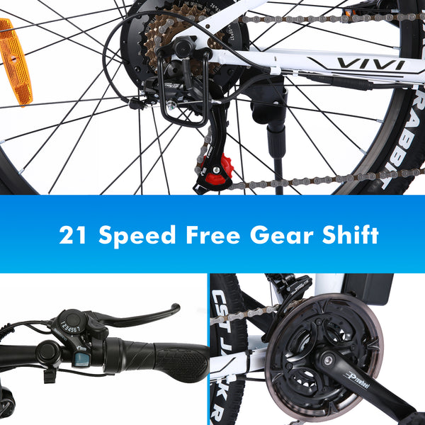 VIVI 26 Inch Wheel 350W Folding Electric Mountain Bike with Removable 36V 8Ah Battery