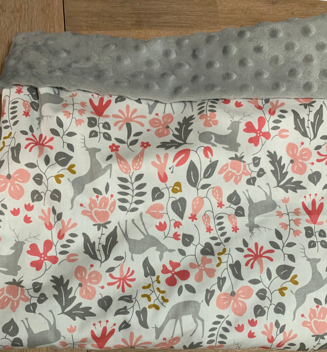 Pink and grey mink dot fabric