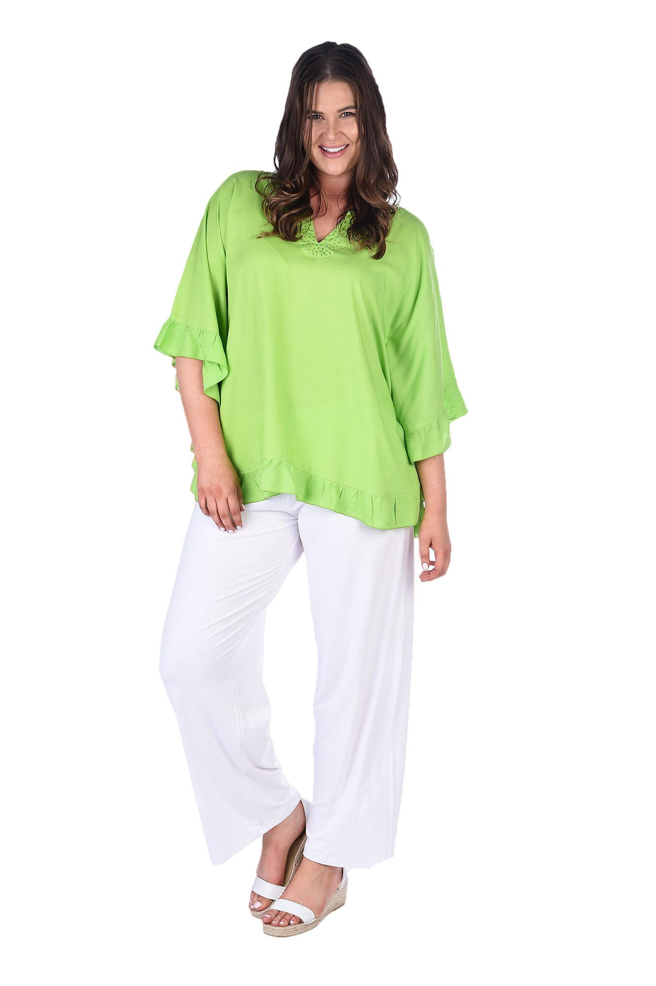 White wide leg pants made from crinkle rayon