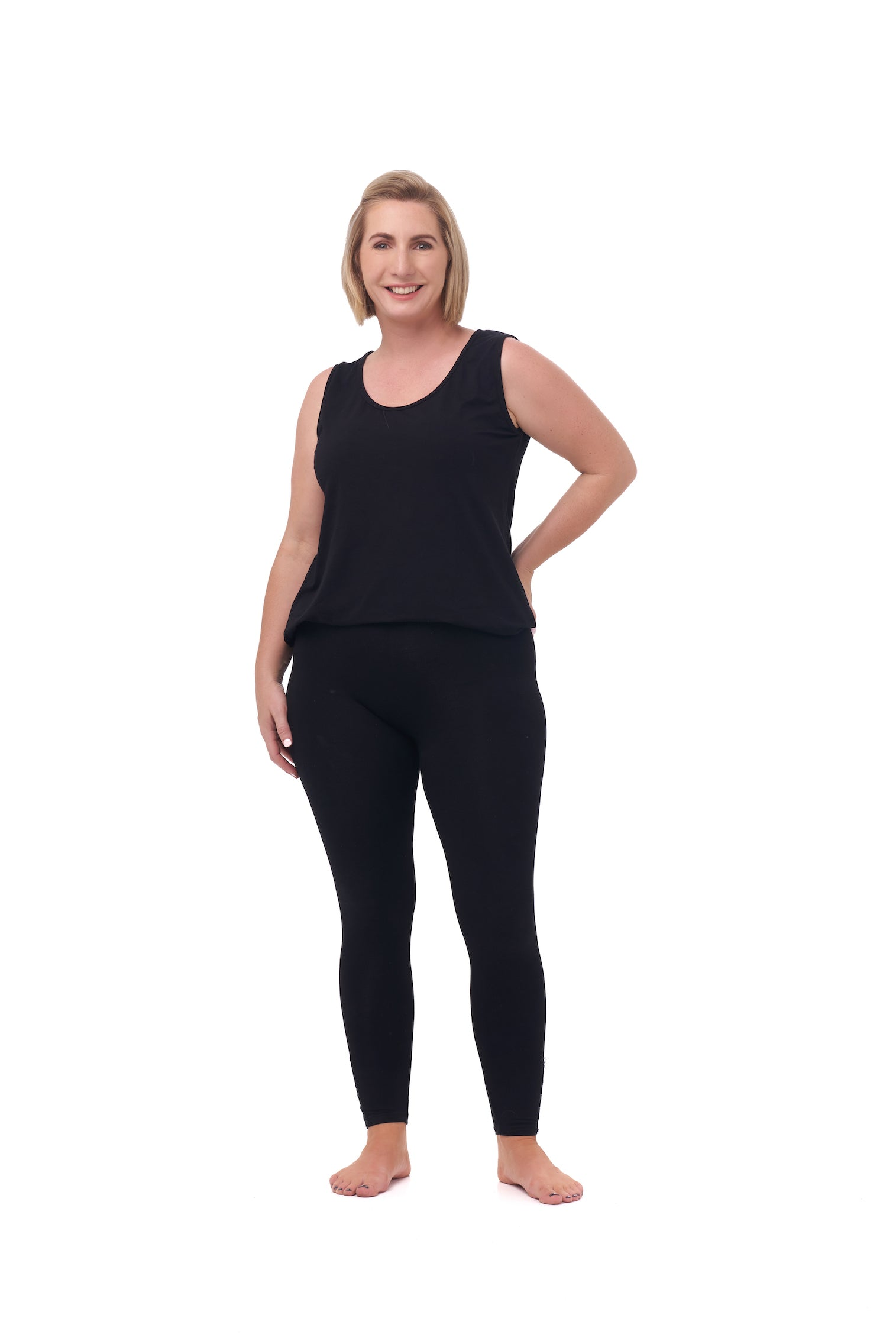 Black leggings with elastic waist
