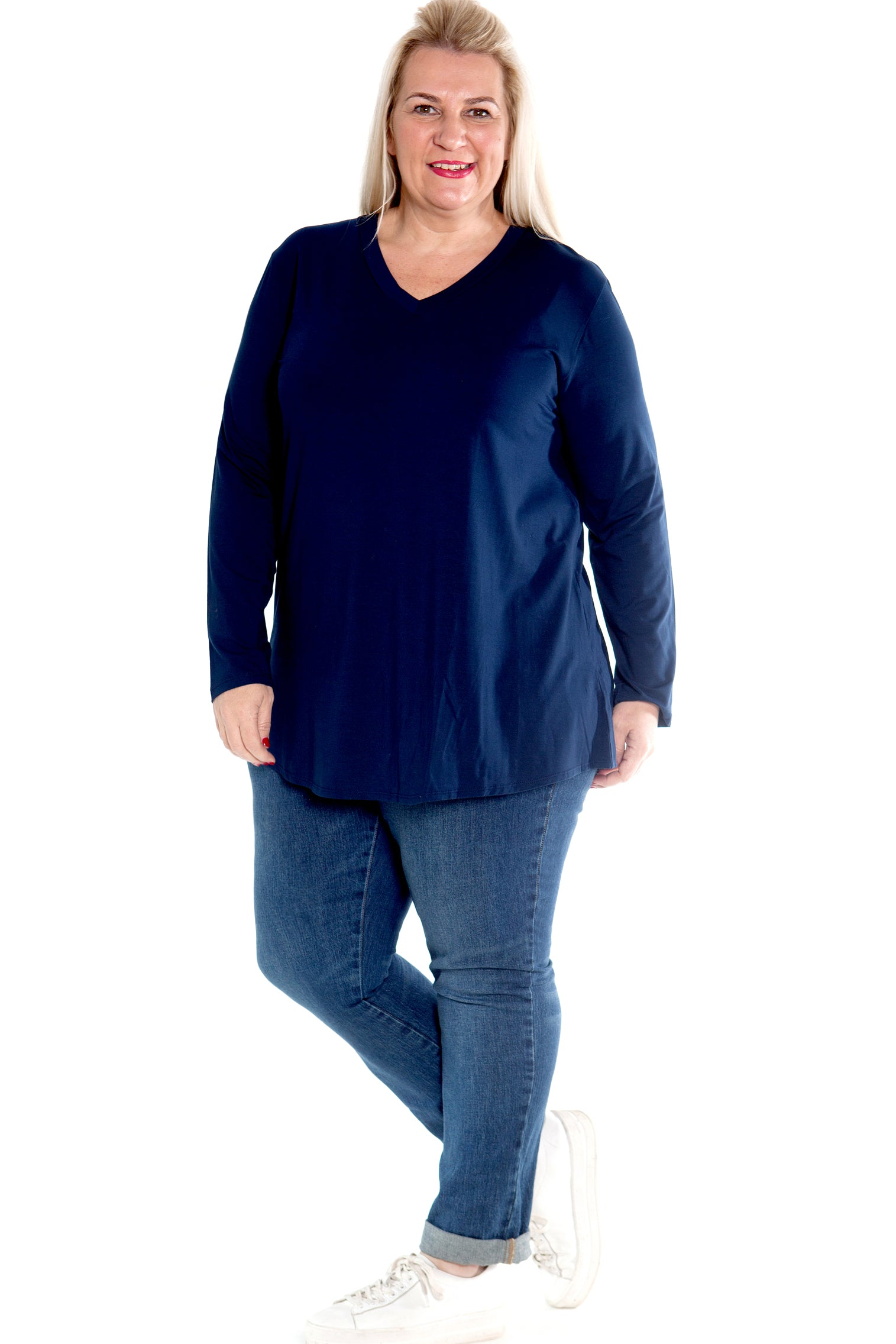 Top Ruth -  Navy Blue Stretch