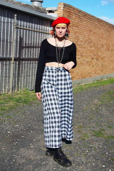 Black and White Tartan Cullotte Pants