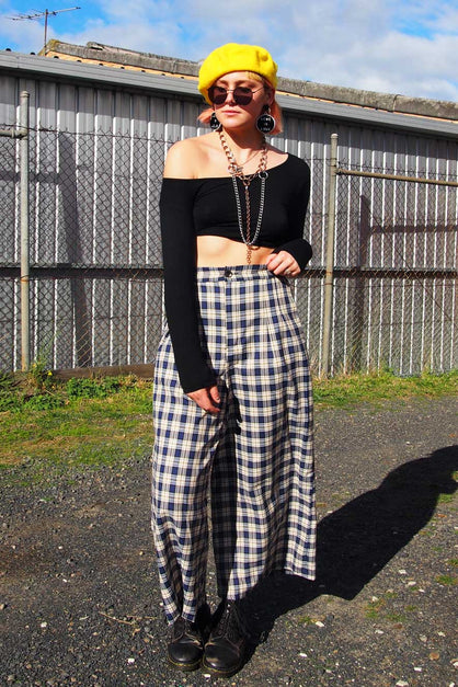 Blue and White Tartan Cullotte Pants