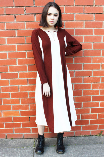 Drew Maxi Dress Brown and White