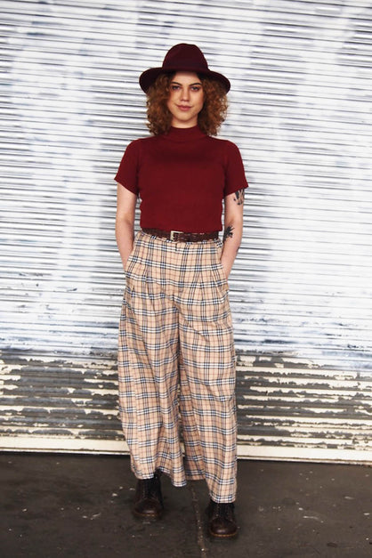 Cream & Black Tartan Culotte Pants