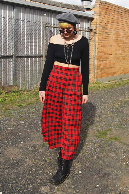 Red and Black Tartan Cullotte Pants