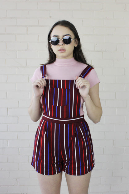 Piper Shortalls Pinstripe Burgundy