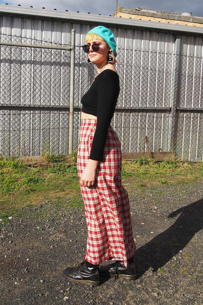 Red and White Tartan Cullotte Pants