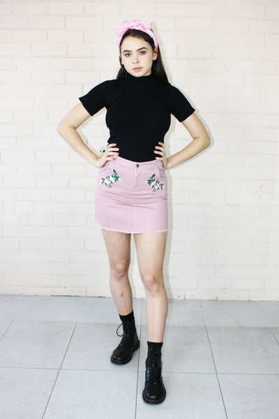 Olivia Embroidered Mini Skirt Pink
