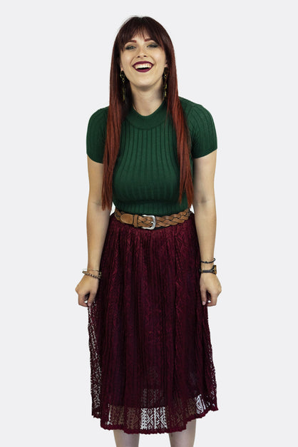 Burgundy Aztec Lace Maxi Skirt