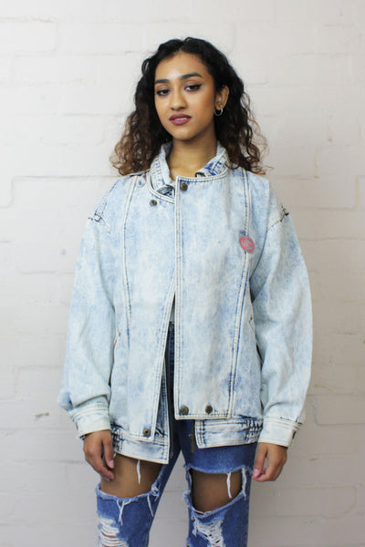 90'S Vintage Harrington Acid Wash Unisex Denim Jacket