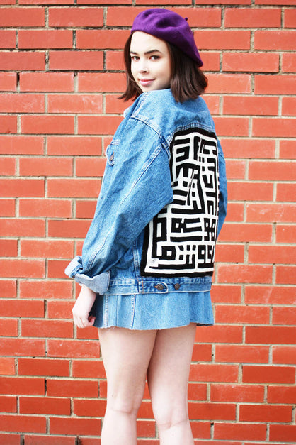 Two Tone Puzzle Patch Denim Jacket