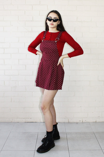 Alice Polka Dot Pinafore Maroon