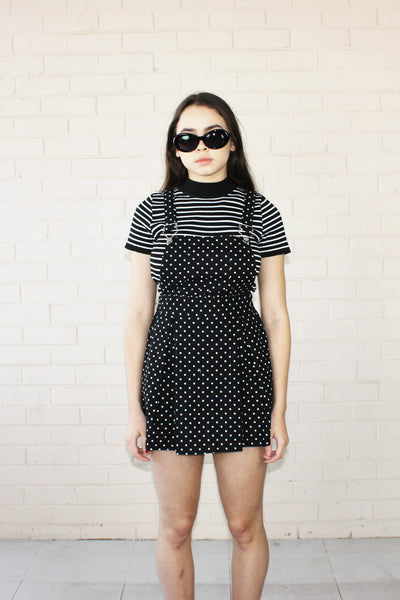Alice Polka Dot Pinafore Black