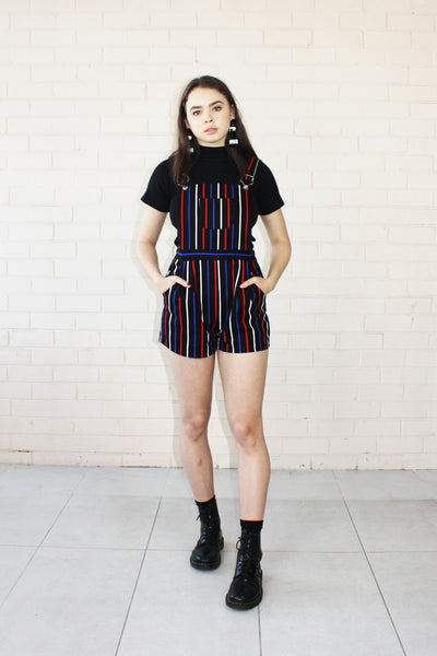 Piper Shortalls Pinstripe Black