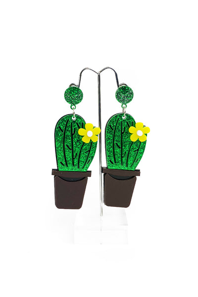 Blooming Cactus Glitter Earrings