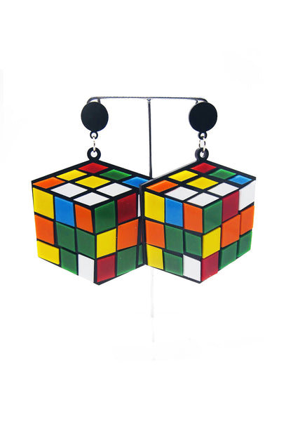 Rubik Cube Earrings
