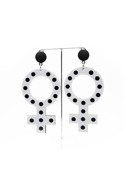 Femme White & Black Earrings for sale