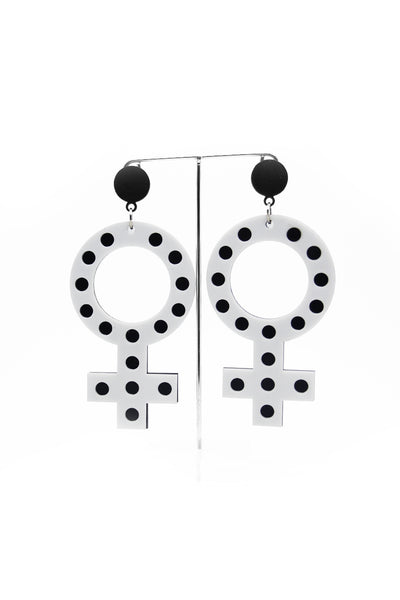 Femme White & Black Earrings