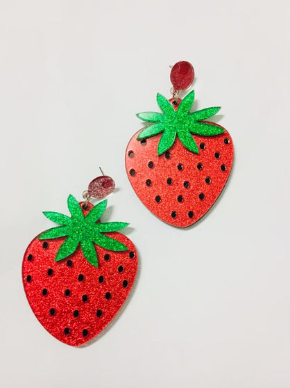 Strawberry Earrings Glitter Small Pre-Order