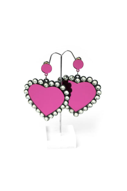 Shiny Heart Diamonte Earrings
