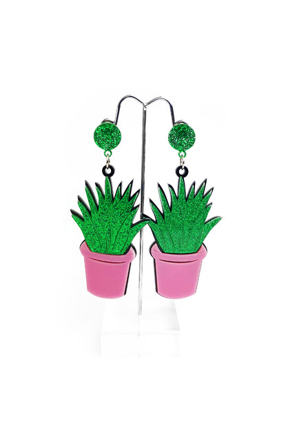 Aloe Vera Cactus in a Pot Earrings