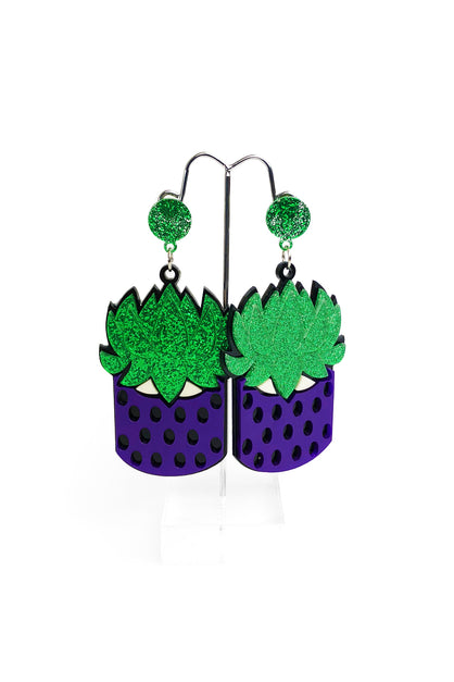 Succulent in Pot Earrings